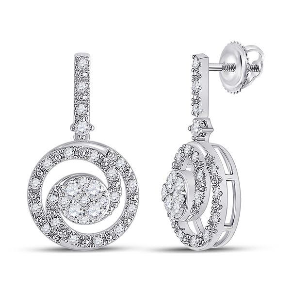 Round Diamond Fashion Swirl Dangle Earrings 1/2 Cttw 14KT White Gold