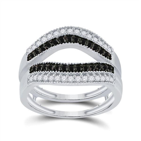 Round Black Color Enhanced Diamond Wrap Ring Guard Enhancer 1/2 Cttw 10KT White Gold