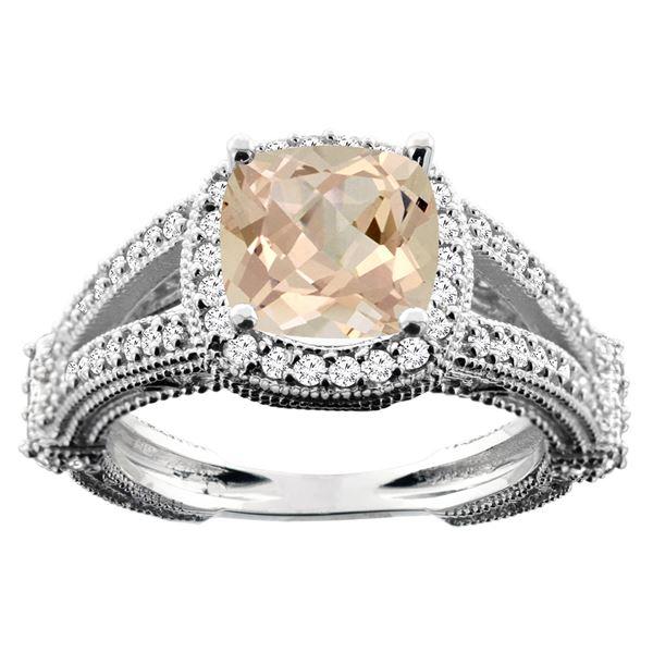 2.27 CTW Morganite & Diamond Ring 14K White Gold - REF-60M9K