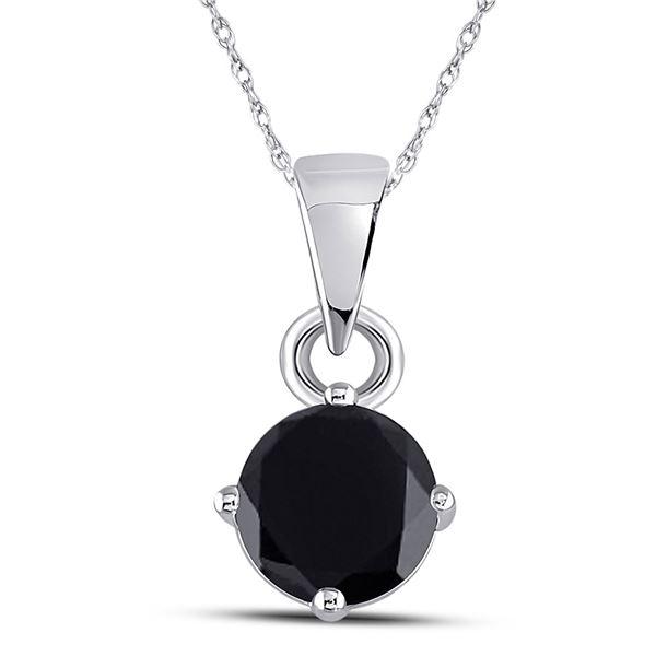 Round Black Color Enhanced Diamond Solitaire Pendant 1 Cttw 10KT White Gold