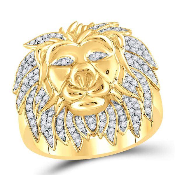 Round Diamond Lion Mane Cluster Ring 5/8 Cttw 10KT Yellow Gold