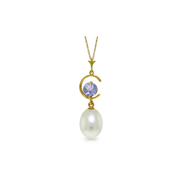 Genuine 4.5 ctw Pearl & Tanzanite Necklace 14KT Yellow Gold - REF-24M3T