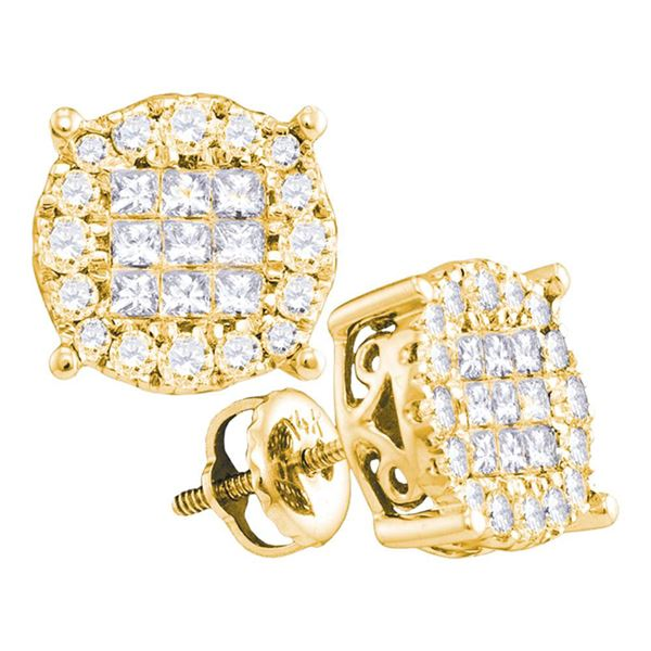 Princess Diamond Cluster Earrings 1 Cttw 14KT Yellow Gold