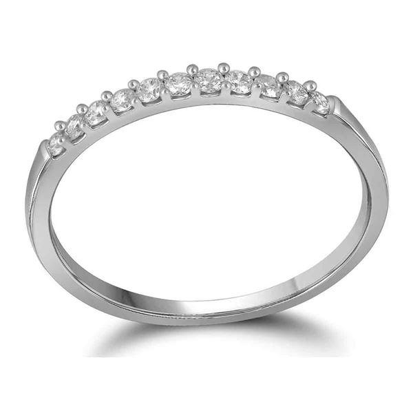 Round Diamond Wedding Band Ring 1/6 Cttw 10KT White Gold