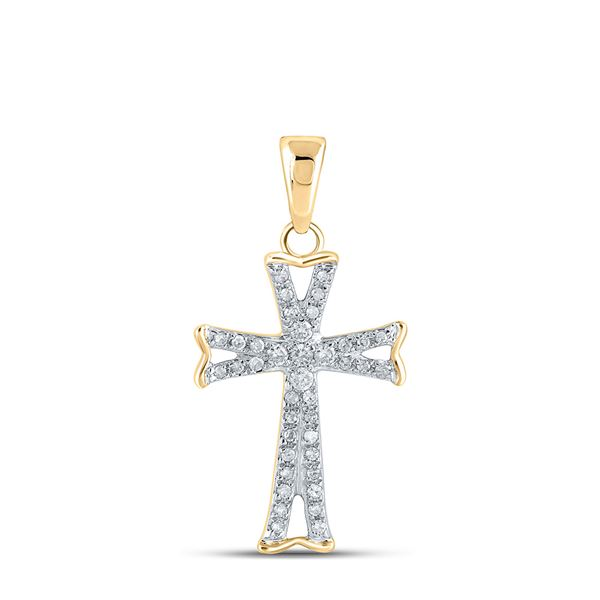 Round Diamond Flared Cross Pendant 1/8 Cttw 14KT Yellow Gold