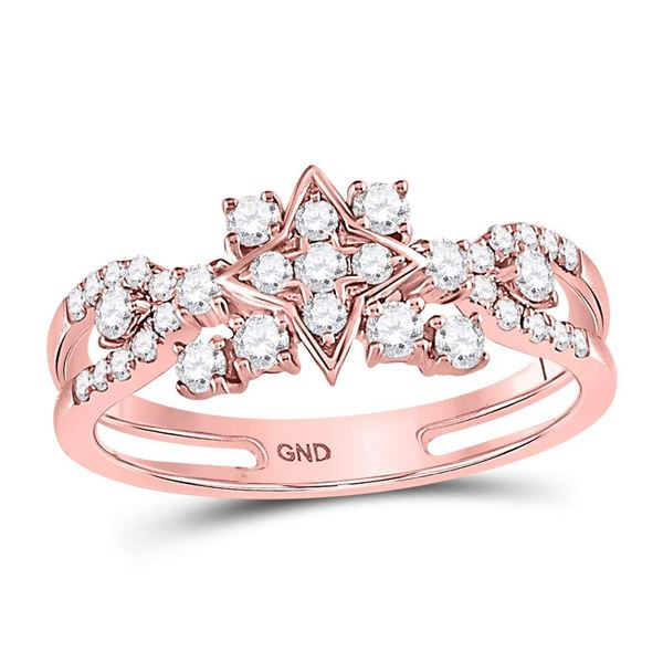 Round Diamond Square Cluster Ring 1/2 Cttw 14KT Rose Gold
