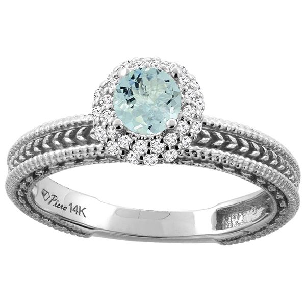0.67 CTW Aquamarine & Diamond Ring 14K White Gold - REF-54F5N