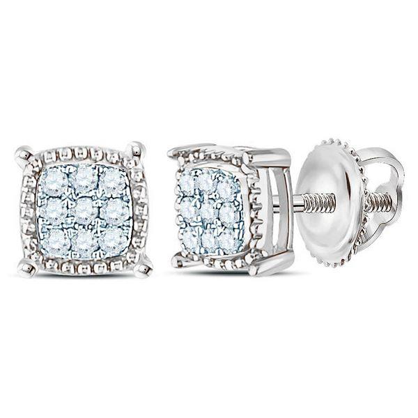 Round Diamond Square Milgrain Cluster Earrings 1/10 Cttw 10KT White Gold