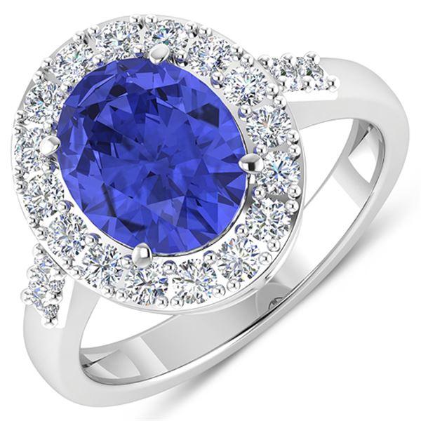 Natural 3.1 CTW Tanzanite & Diamond Ring 14K White Gold - REF-117N5R