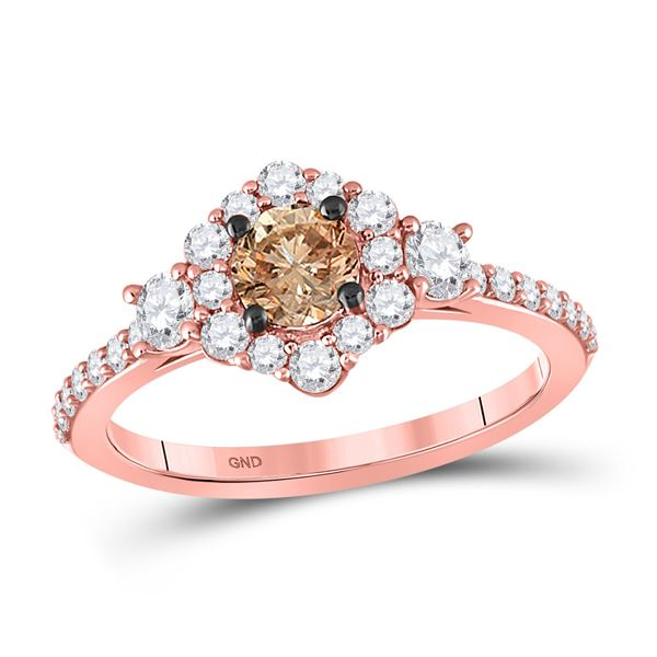 Brown Diamond Solitaire Bridal Wedding Engagement Ring 1 Cttw 14KT Rose Gold