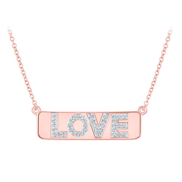 """Round Diamond Pink Love Bar Pendant Necklace with 18"""" Chain 1/8 Cttw 10KT Rose Gold"""