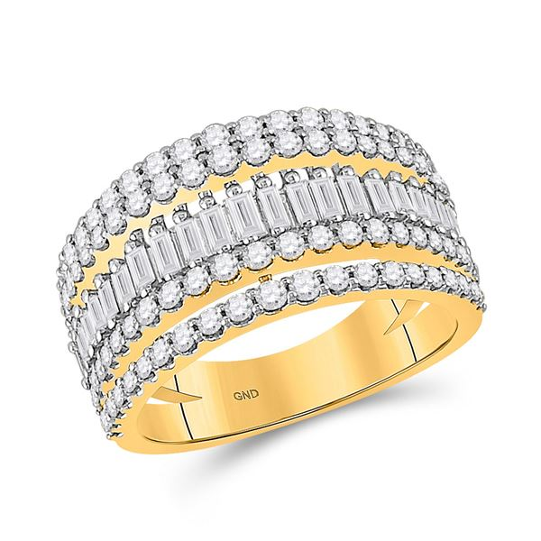 Baguette Diamond Modern Cocktail Band Ring 1 Cttw 14KT Yellow Gold