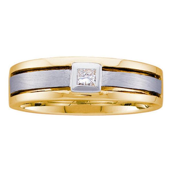 Princess Diamond Wedding Band Ring 1/6 Cttw 14KT Yellow Gold