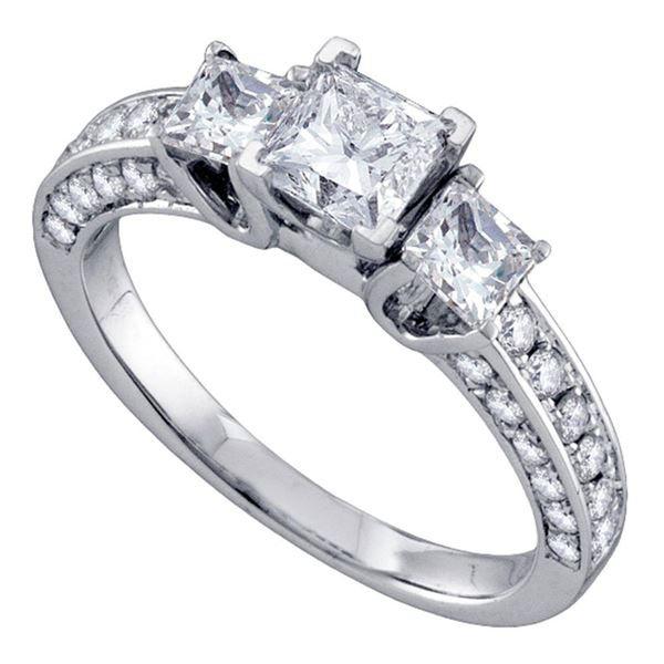Princess Bridal Wedding Engagement Ring 1-1/2 Cttw 14KT White Gold