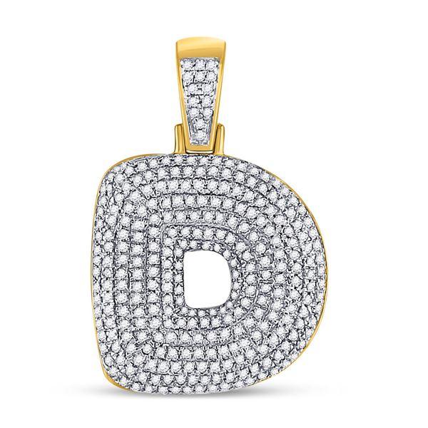 Round Diamond Bubble D Letter Charm Pendant 7/8 Cttw 10KT Yellow Gold