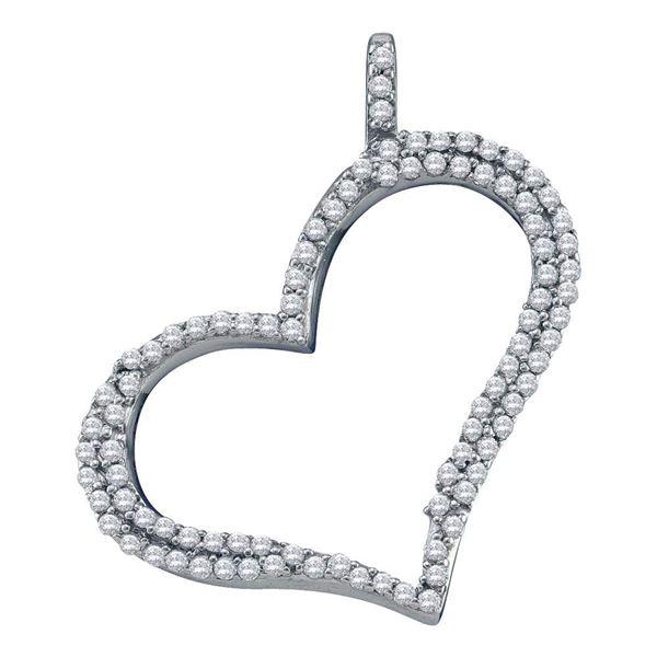 Round Diamond Outline Heart Pendant 1/3 Cttw 10KT White Gold