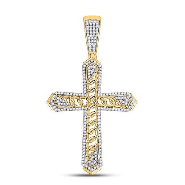 Round Diamond Cuban Link Cross Charm Pendant 1/2 Cttw 10KT Yellow Gold