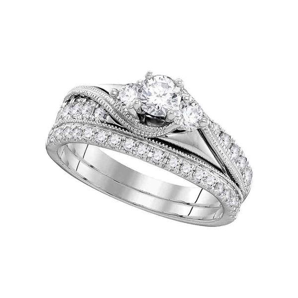 Diamond 3-Stone Bridal Wedding Ring Band Set 7/8 Cttw 14KT White Gold