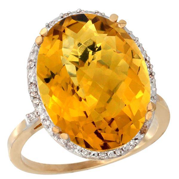 13.71 CTW Quartz & Diamond Ring 10K Yellow Gold - REF-51N2Y