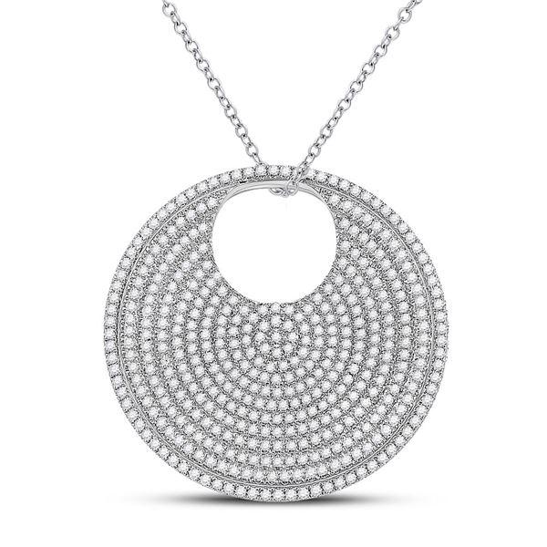 Round Diamond Circle Pendant 2-3/4 Cttw 14KT White Gold