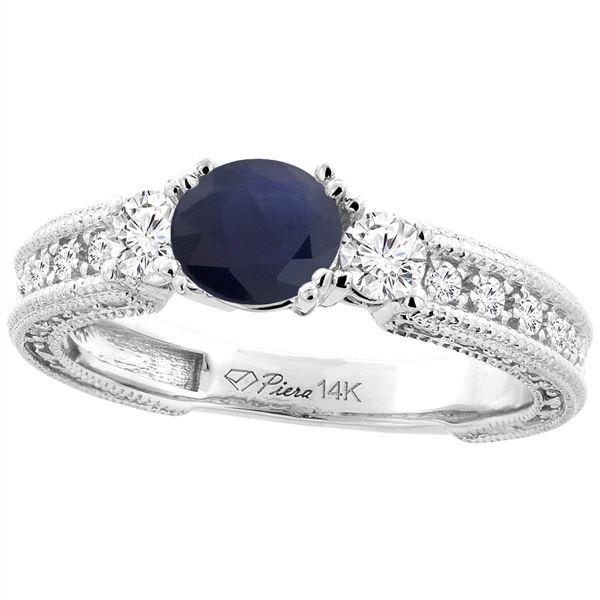 1.60 CTW Blue Sapphire & Diamond Ring 14K White Gold - REF-148F7N