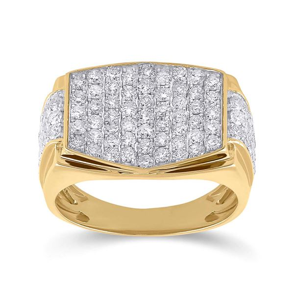 Radiant Diamond Cluster Ring 2 Cttw 10KT Yellow Gold