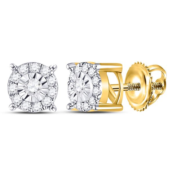 Round Diamond Halo Earrings 1/5 Cttw 10KT Yellow Gold