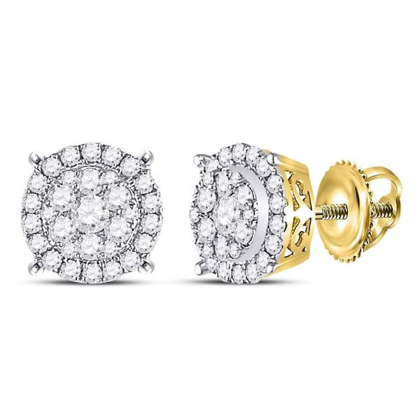 Round Diamond Circle Cluster Earrings 1/2 Cttw 14KT Yellow Gold