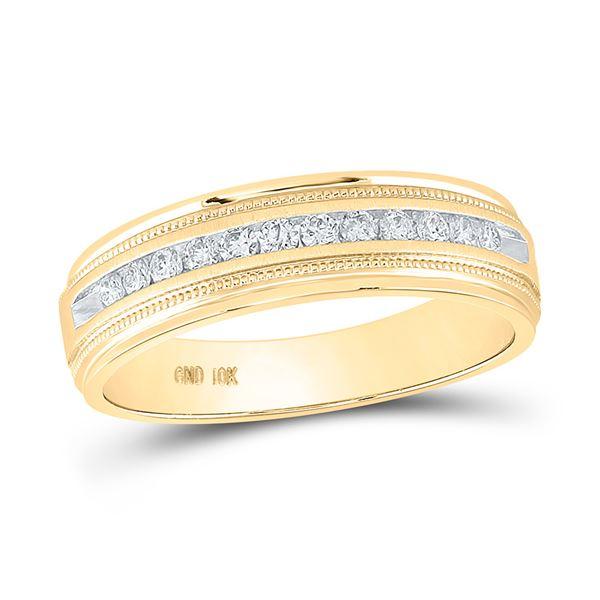 Round Diamond Wedding Single Row Band Ring 1/4 Cttw 10KT Yellow Gold