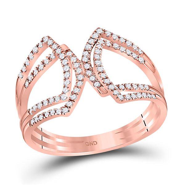 Round Diamond Modern Fashion Band Ring 1/4 Cttw 10KT Rose Gold