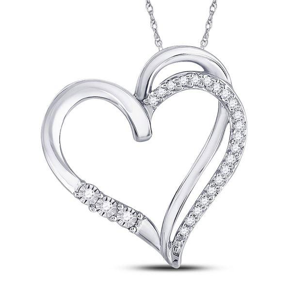 Round Diamond Open-center Heart Pendant 1/10 Cttw 10KT White Gold