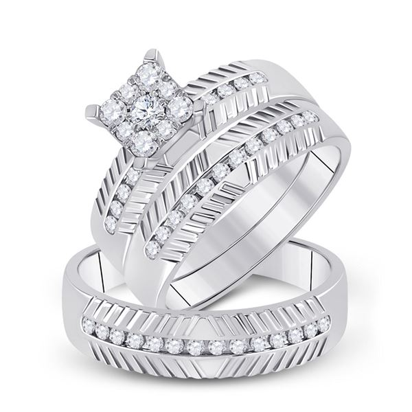 Diamond Cluster Matching Wedding Set 3/4 Cttw 14KT White Gold