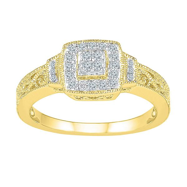 Round Diamond Square Cluster Ring 1/5 Cttw 10KT Yellow Gold
