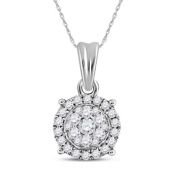 Round Diamond Halo Cluster Pendant 1/4 Cttw 14KT White Gold