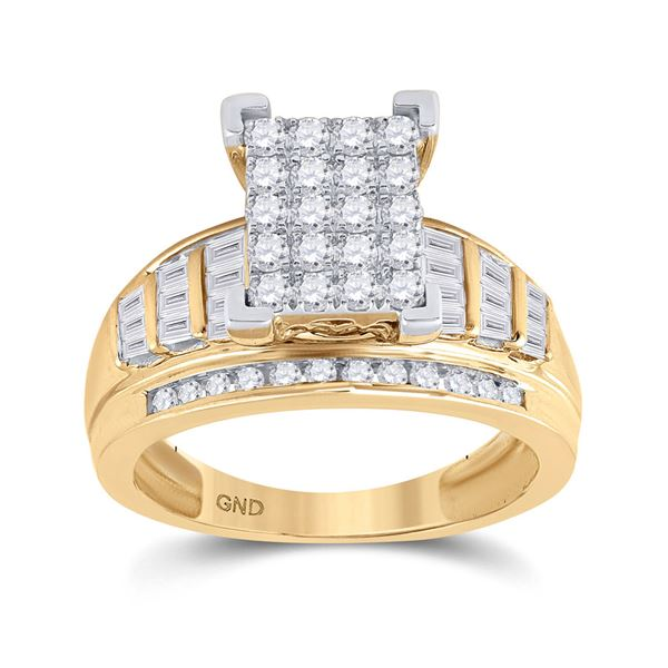 Diamond Cluster Bridal Wedding Engagement Ring 1 Cttw 10KT Yellow Gold