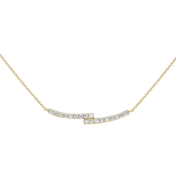 Round Diamond Curved Bypass Bar Necklace 1/2 Cttw 14KT Yellow Gold