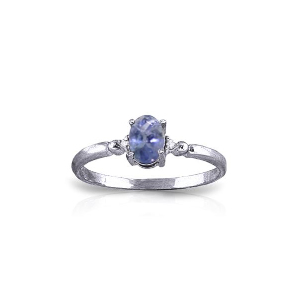 Genuine 0.46 ctw Tanzanite & Diamond Ring 14KT White Gold - REF-27N8R