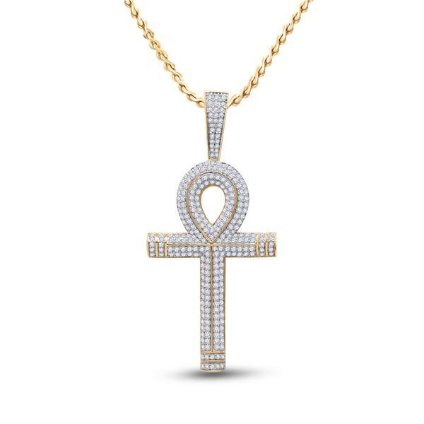 Round Diamond Ankh Cross Charm Pendant 2-1/5 Cttw 10KT Yellow Gold