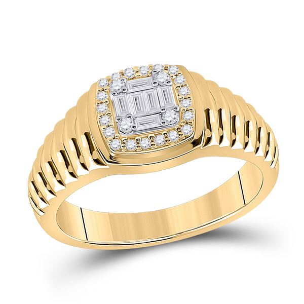 Baguette Round Diamond Square Ring 1/3 Cttw 14KT Yellow Gold