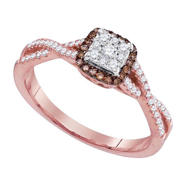 Round Brown Diamond Twist Cluster Ring 1/3 Cttw 14KT Rose Gold
