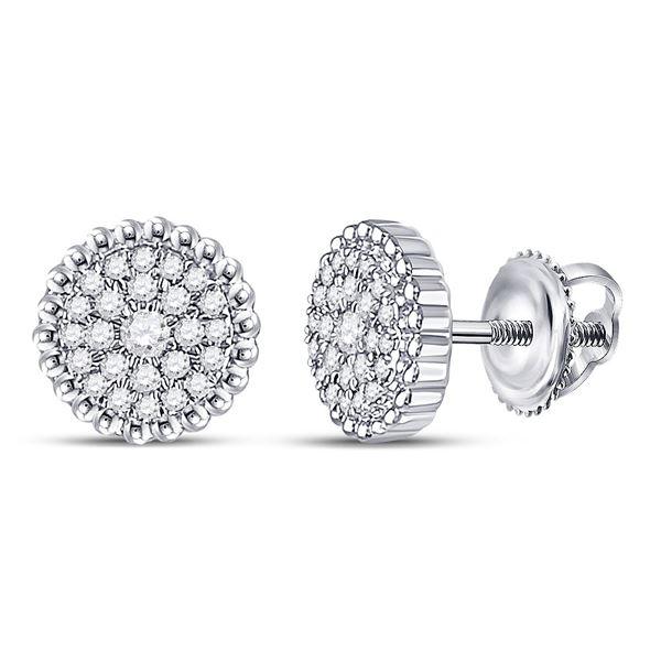 Round Diamond Beaded Halo Earrings 1/4 Cttw 10KT White Gold