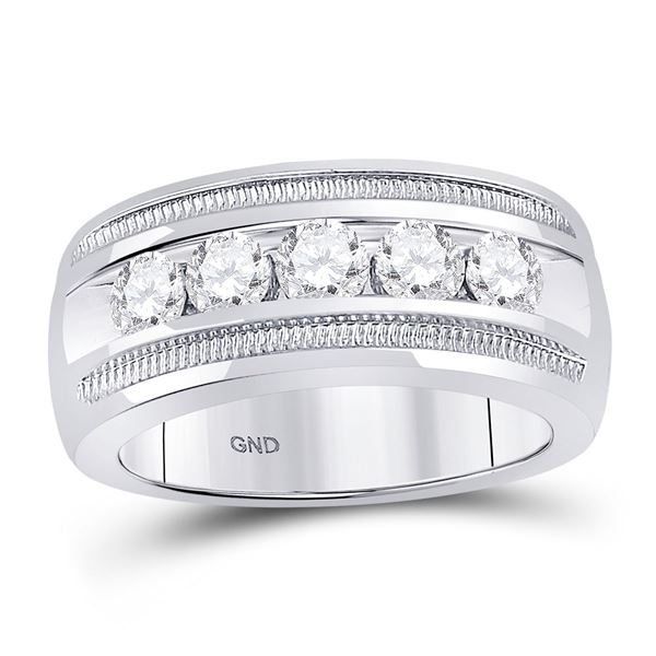 Round Diamond Single Row 5-Stone Wedding Band Ring 1-1/2 Cttw 14KT White Gold