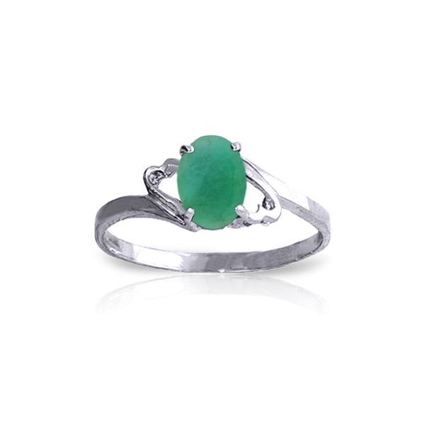 Genuine 0.75 ctw Emerald Ring 14KT White Gold - REF-27N8R