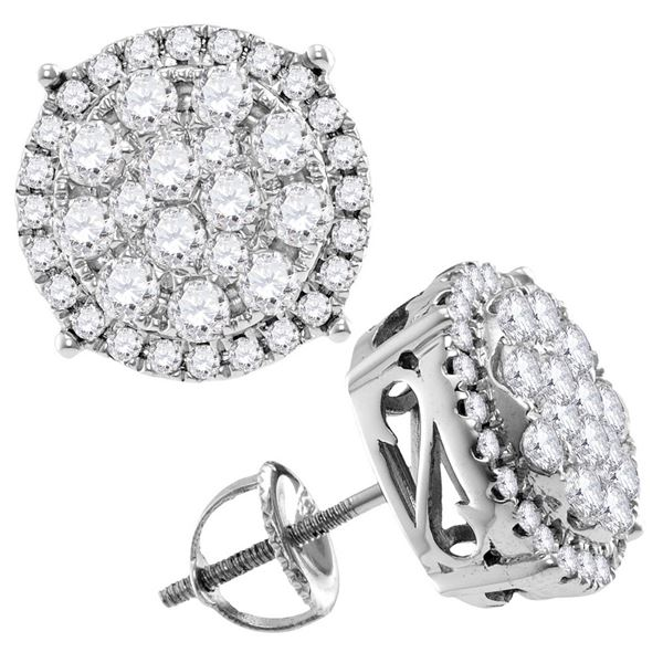 Round Diamond Concentric Circle Cluster Stud Earrings 2 Cttw 14KT White Gold