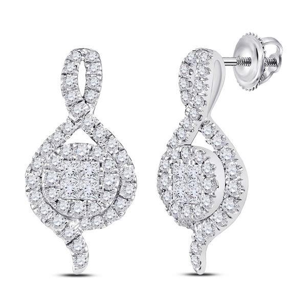 Princess Round Diamond Cluster Earrings 1/2 Cttw 14KT White Gold
