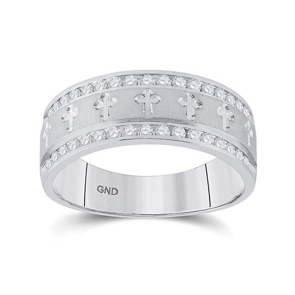 Round Diamond Wedding Cross Band Ring 1/2 Cttw 14KT White Gold