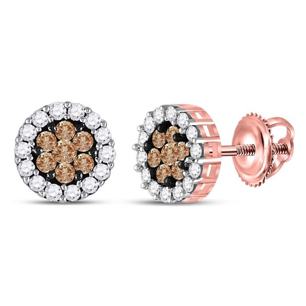 Round Brown Diamond Flower Cluster Earrings 1 Cttw 14KT Rose Gold