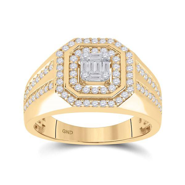Baguette Diamond Octagon Cluster Ring 3/4 Cttw 14KT Yellow Gold