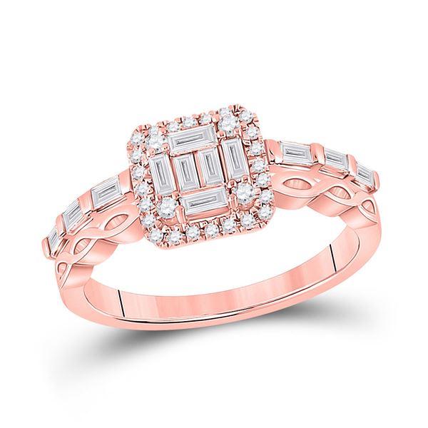 Baguette Diamond Square Cluster Ring 5/8 Cttw 14KT Rose Gold