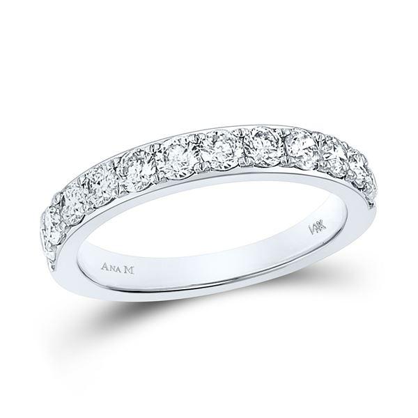 Round Diamond Wedding Single Row Band 1 Cttw 14KT White Gold
